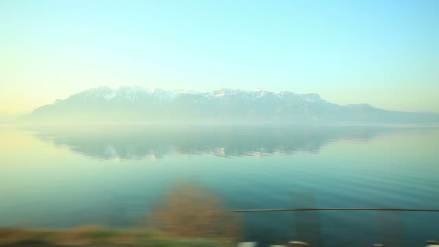 Lake geneva and sunset of Alps