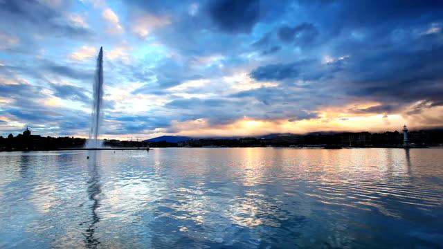 Genfer Fontäne im Genfer See timelapse