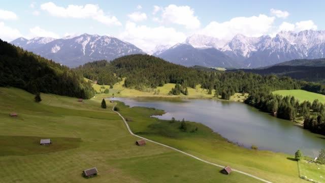 lake geroldsee and karwendel mountains in upper bavaria - karwendel mountains stock videos and b-roll footage