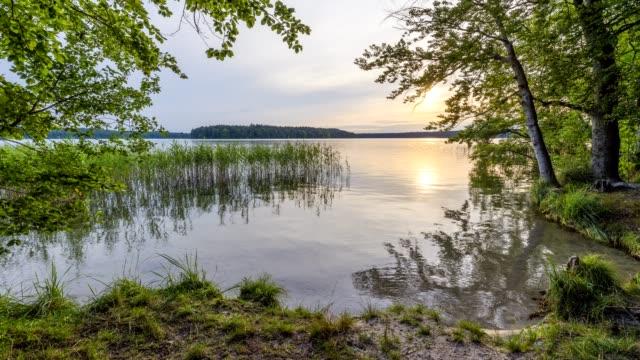 Lake Großer Stechlinsee at sunset, Neuglobsow, Rheinsberg, Ruppiner Land, Brandenburg, Germany