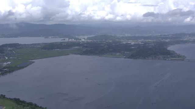 aerial, lake hamana, shizuoka, japan - hamamatsu stock videos and b-roll footage