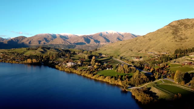 lake hayes in aerial view - queenstown stock videos & royalty-free footage
