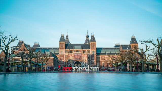 "lake ""i am amsterdam"" monument time lapse - amsterdam stock videos & royalty-free footage"