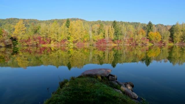 Lake in autumn, Mondfeld, Wertheim, Main-Tauber-Kreis, Baden-Württemberg, Germany