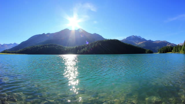 lake in mountains, sunny summer day