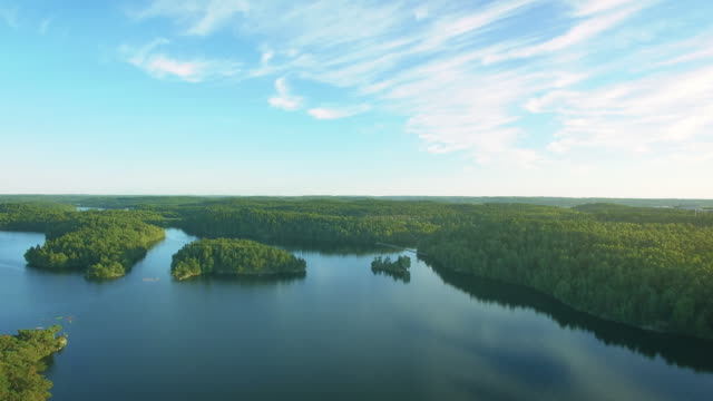 lake in sweden aerial flyover - non urban scene stock videos & royalty-free footage