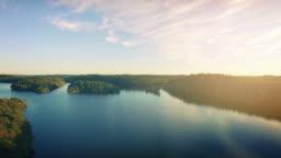 Lake in Sweden Flyover