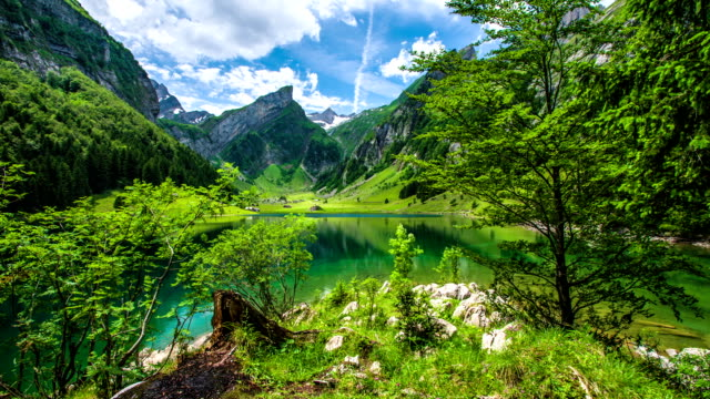 lake in the mountains - switzerland stock videos and b-roll footage