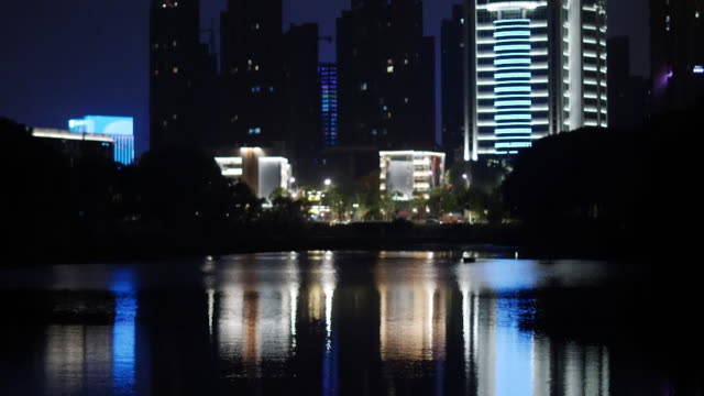 lake in wuhan, night - china east asia stock videos & royalty-free footage