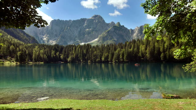 ws lake lago di fusine with mt mangart - natural landmark stock videos & royalty-free footage