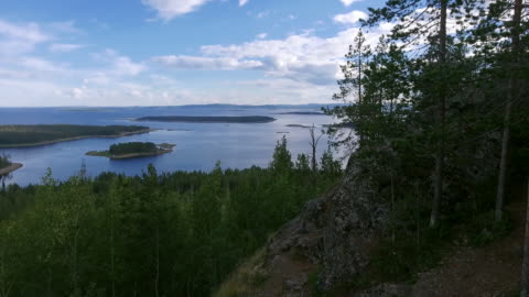 lake landscape - pine tree stock videos & royalty-free footage