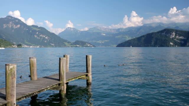 lake lucerne at weggis - lake lucerne stock videos & royalty-free footage