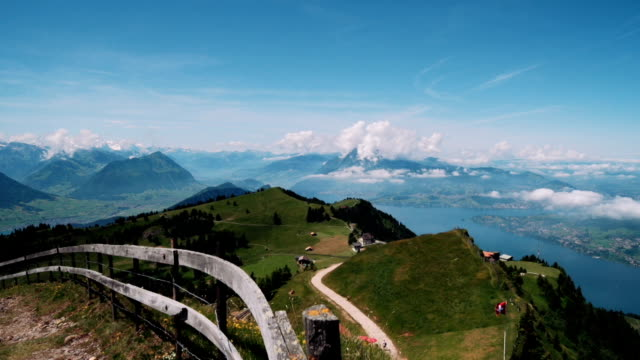 Lake Lucerne with Pennine Alps from mountain Rigi