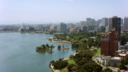 AERIAL Lake Merritt and Oakland center in California, USA