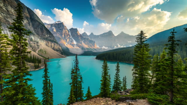 lake moraine in banff national park alberta, canada - time lapse - valley of the ten peaks stock videos and b-roll footage