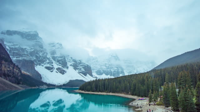 lake moraine in banff national park - valley of the ten peaks stock videos & royalty-free footage