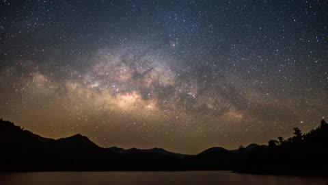 日出和早晨時間之前,天空中的湖山和乳白色 - day 個影片檔及 b 捲影像