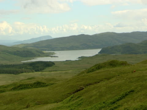 vidéos et rushes de lake, mountains in distance, bright calm, woodland, scrub, peaceful, idyllic, picture postcard - mull