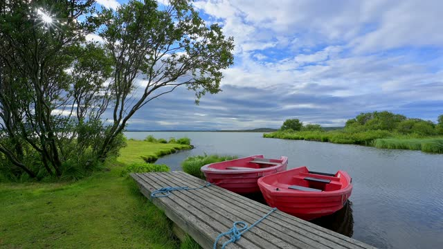 lake myvatn in summer, reykjahlid, myvatn region, nordurland vestra, northern region, iceland - seeufer stock-videos und b-roll-filmmaterial