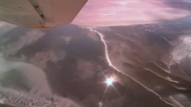 aerial, lake natron with flying flamingos, tanzania - タンザニア点の映像素材/bロール