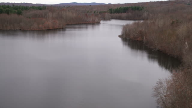lake north of new haven, connecticut. shot in november 2011. - artbeats video stock e b–roll