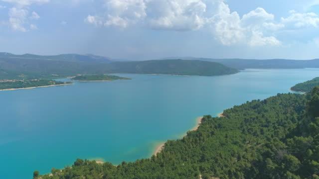 aerial lake of sainte-croix - provence alpes cote d'azur stock videos & royalty-free footage