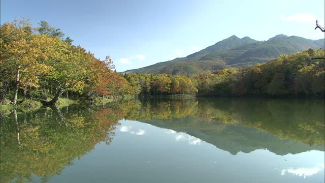Lake of Shiretoko peninsula surrounded by trees in autumn tints, Mt. Iwo reflecting on surface