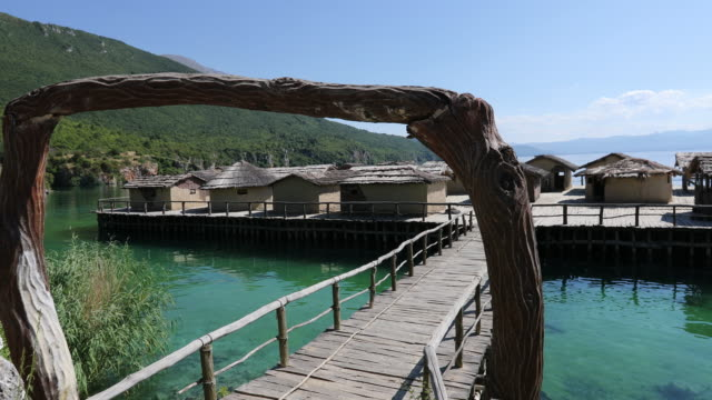 Lake Ohrid, view of the Prehistoric village in the Bay of the Bones.