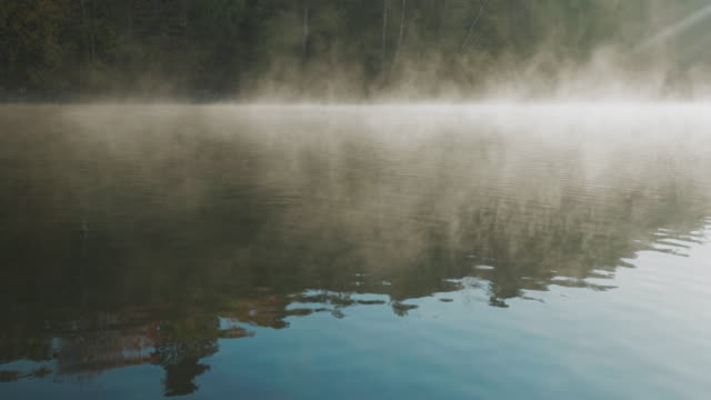 a lake on an early autumn morning in sweden - fog stock videos & royalty-free footage