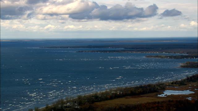 Lake Ontario Shoreline - Aerial View - New York,  Oswego County,  United States