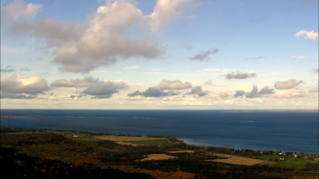 Lake Ontario With Canada And Distant Ottawa  - Aerial View - New York,  Oswego County,  United States