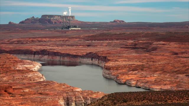 lake powell and navajo generating station - lake powell stock videos & royalty-free footage