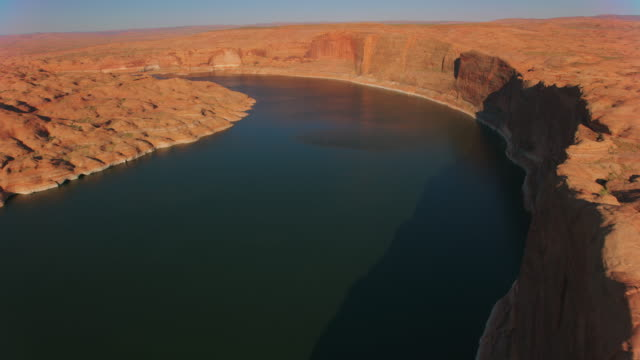 aerial lake powell and the landscape in late afternoon - lake powell stock videos & royalty-free footage