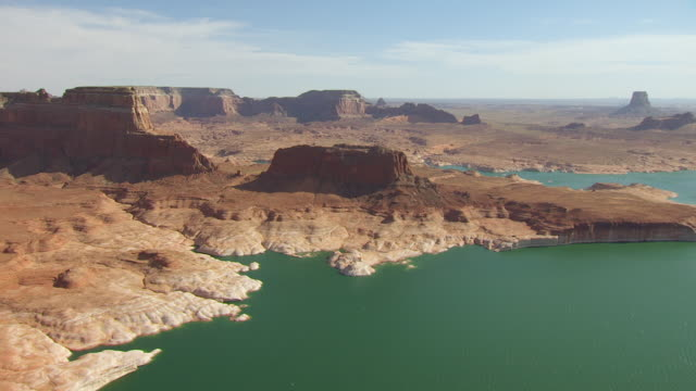 ws aerial lake powell at glen canyon national recreation area / utah, united states - lake powell stock videos and b-roll footage