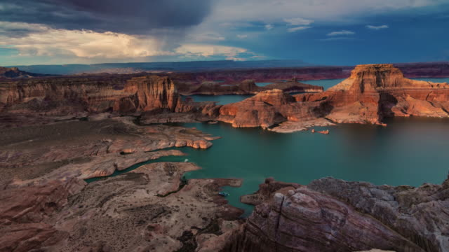 lake powell at sunset - lake powell stock videos & royalty-free footage