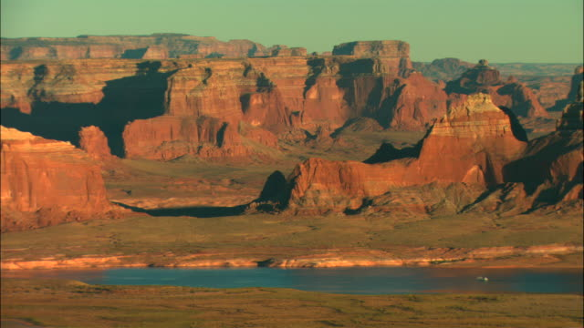 ws, pan, ha, lake powell, glen canyon national recreation area, utah, usa - lago powell video stock e b–roll