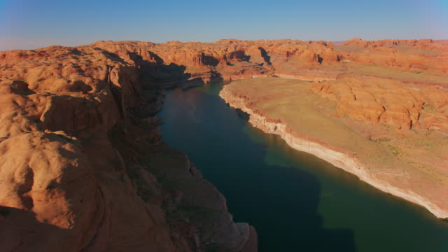 aerial lake powell in the afternoon sun - lake powell stock videos & royalty-free footage