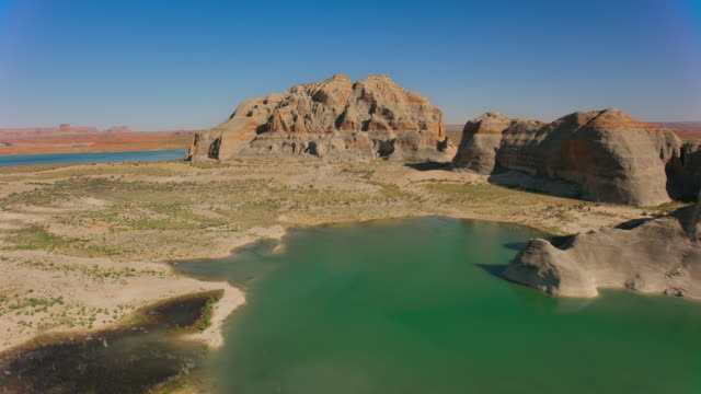 aerial lake powell on a sunny day - lake powell stock videos & royalty-free footage
