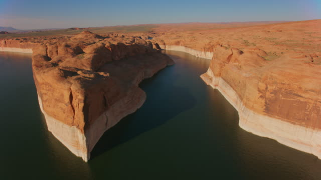 aerial lake powell with and its white high water mark - lake powell stock videos & royalty-free footage