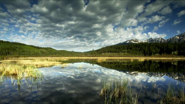 vídeos de stock, filmes e b-roll de lake reflecting mountain, forest and sky - lago reflection