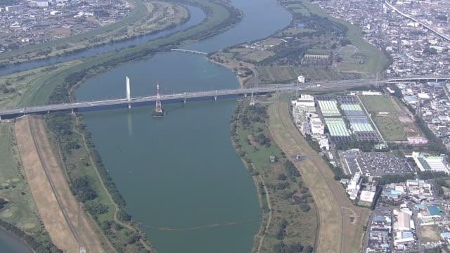 aerial, lake sai, saitama, japan - 山梨県点の映像素材/bロール