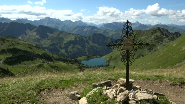 Lake Seealpsee at  Nebelhorn Mountain (2224m), Oberstdorf, Allg?u, Swabia, Bavaria, Germany