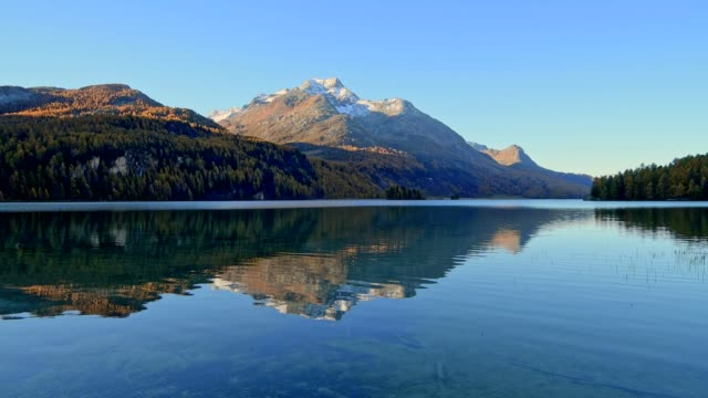 Lake Silsersee at morning in autumn, Sils im Engadin, Engadin, Grisons, Switzerland, European Alps