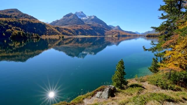 Lake Silsersee in autumn, Sils im Engadin, Engadin, Grisons, Switzerland, European Alps