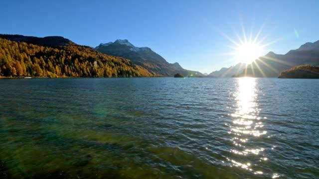 Lake Silsersee in evening in autumn, Sils im Engadin, Engadin, Grisons, Switzerland, European Alps