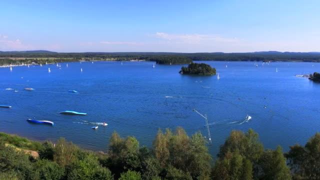 lake steinberger see in north bavaria - waterskiing stock videos & royalty-free footage