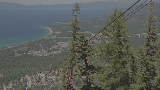mov pov of lake tahoe from ski lift - ski lift point of view stock videos & royalty-free footage