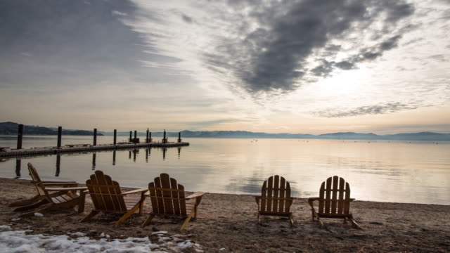 lake tahoe incline village winter sunset - adirondack chair stock videos & royalty-free footage