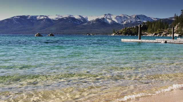 lake tahoe waters lapping sand harbor beach - californian sierra nevada stock videos & royalty-free footage