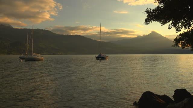 lake thun and mount niesen, bernese alps, switzerland, europe - lake thun stock videos and b-roll footage